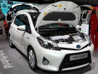 The new Toyota Yaris Hybrid displayed at the 2012 Paris Motor Show