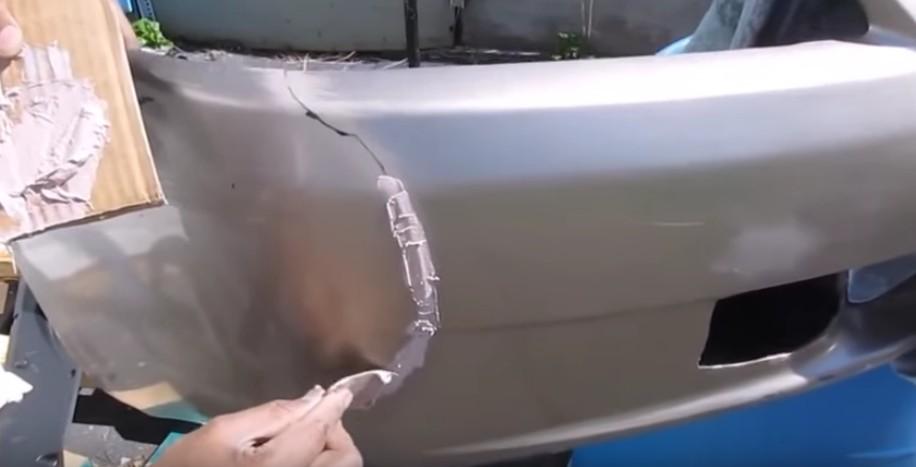 Как сделать трещину на бампер 562