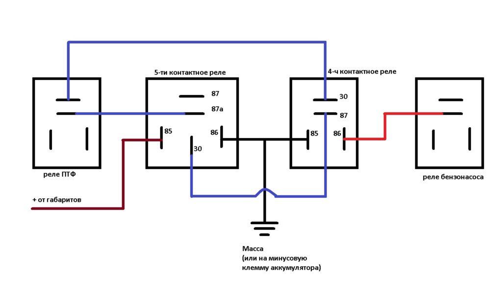 Схема подключения ДХО через реле