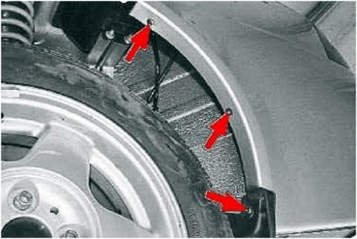 Крепление заднего обвеса в арках колес