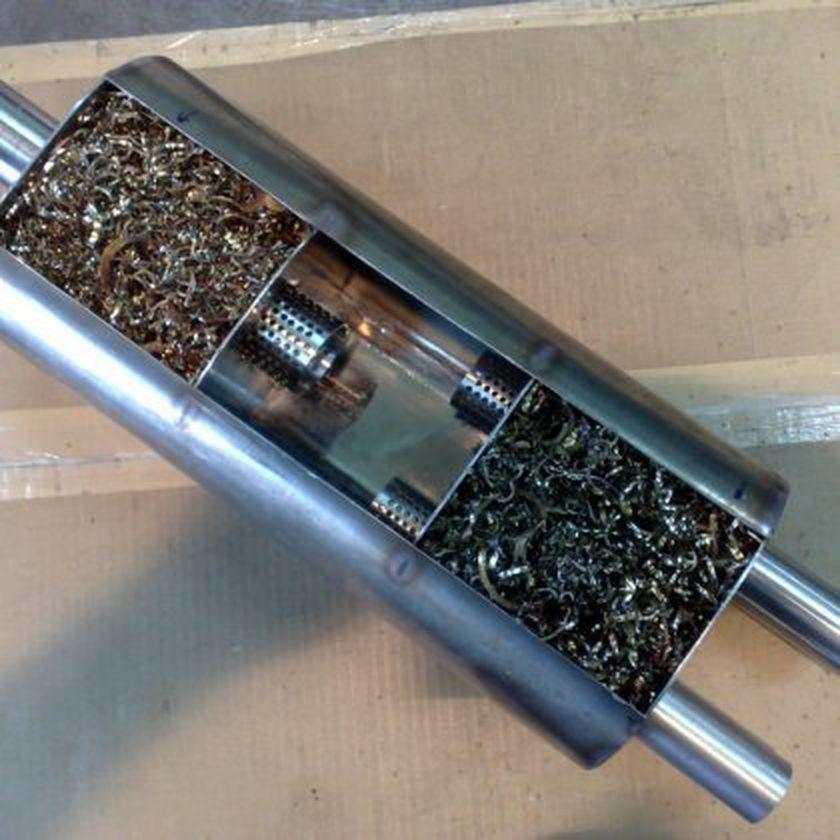 заполнение глушителя металлической стружкой