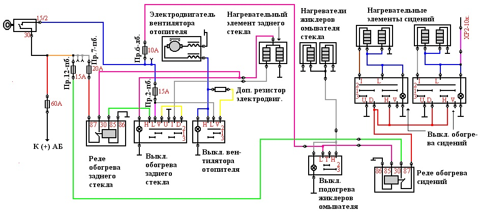 Схема подключения печки