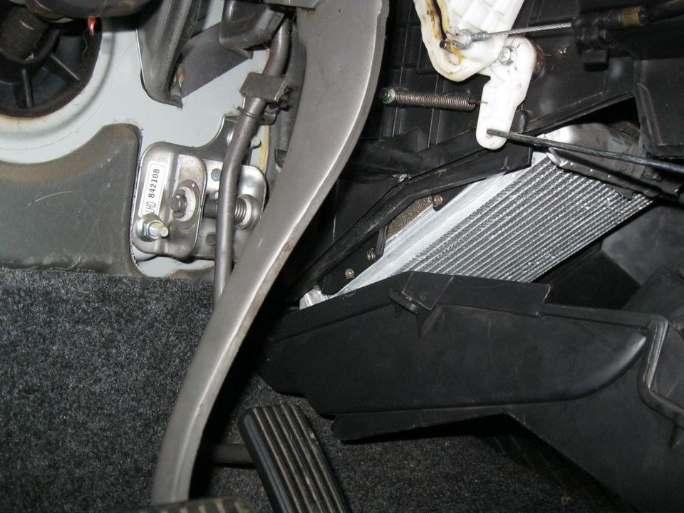 Расположение радиатора печки Chevrolet Lanos