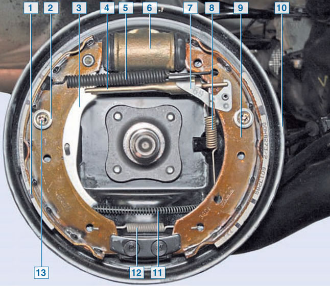 Задний тормозной механизм Рено Логан