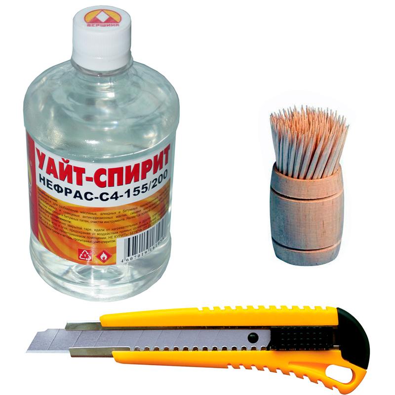 Зубочистки, нож и обезжириватель