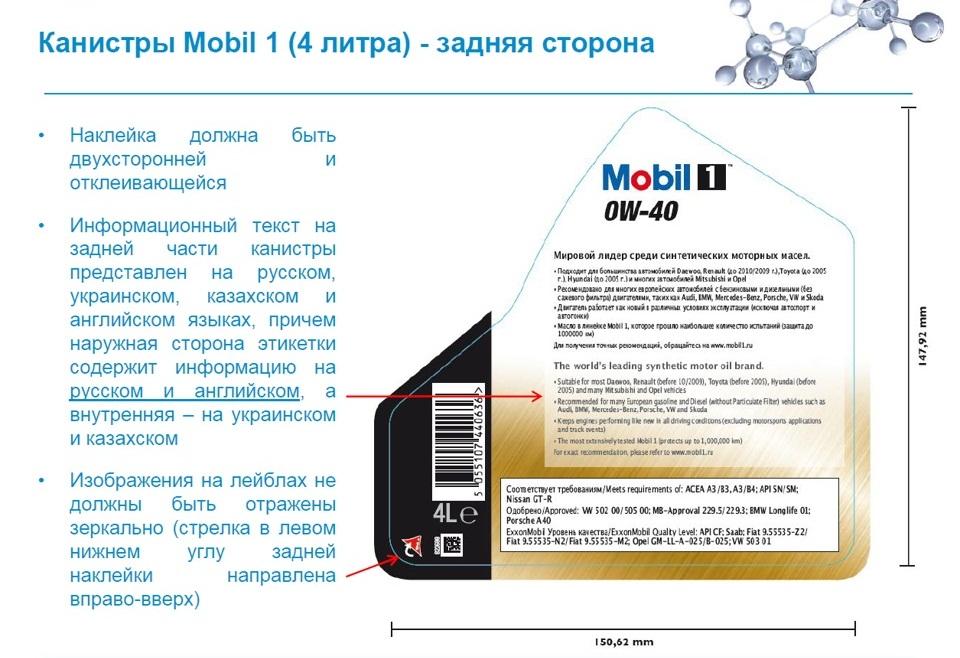 Задняя этикетка Mobil 1