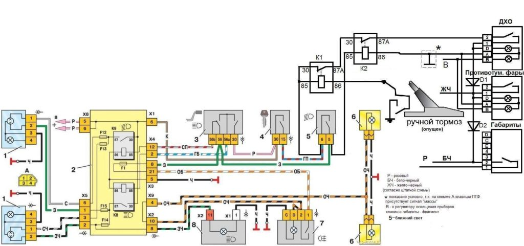 Схема подключения ДХО от замка зажигания