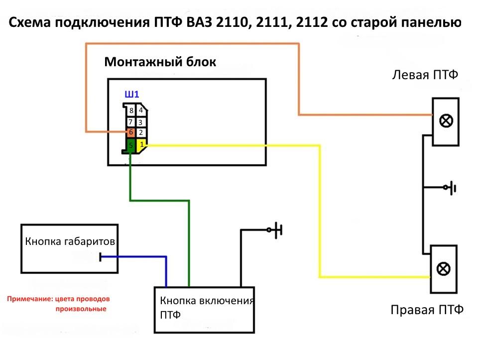 Электрическая схема подключения ПТФ ВАЗ 2110, 2111, 2112 со старой панелью