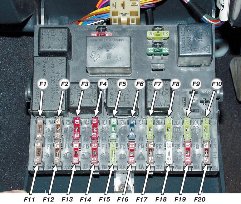 Схема маркировки блока предохранителей ВАЗ 2110, 2111, 2112